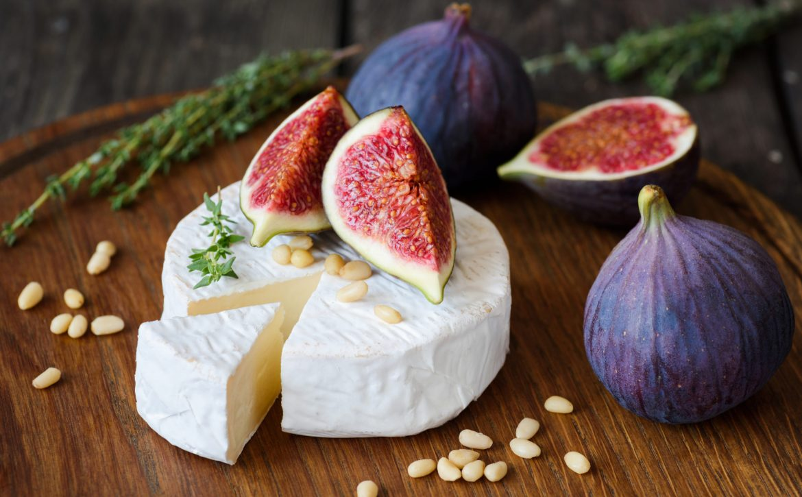 Camembert cheese with fresh figs and nuts